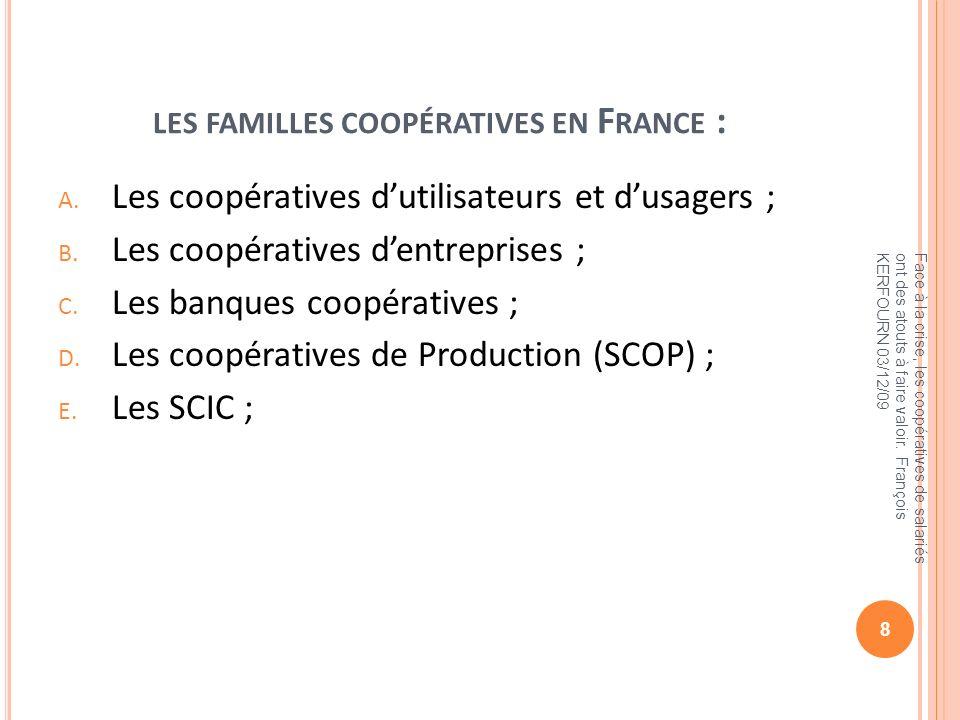 les familles coopératives en France :
