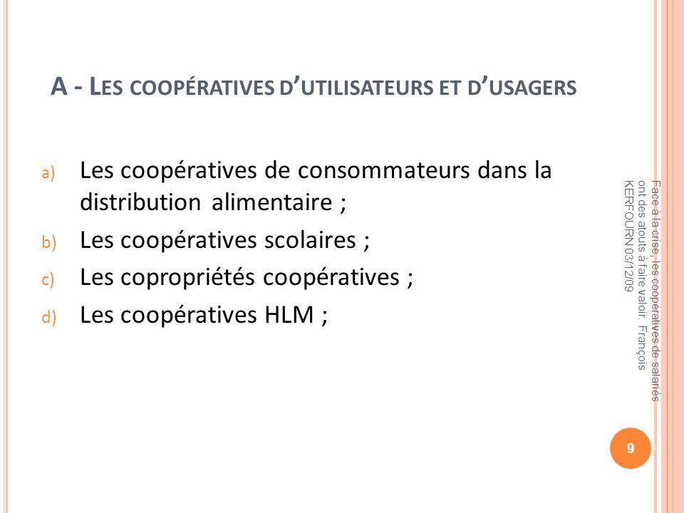 A - Les coopératives d'utilisateurs et d'usagers