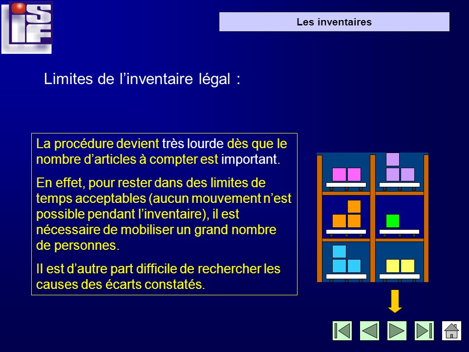 Limites de l'inventaire légal :