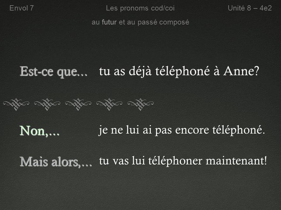tu as déjà téléphoné à Anne