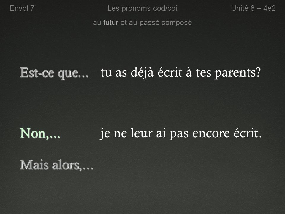 tu as déjà écrit à tes parents