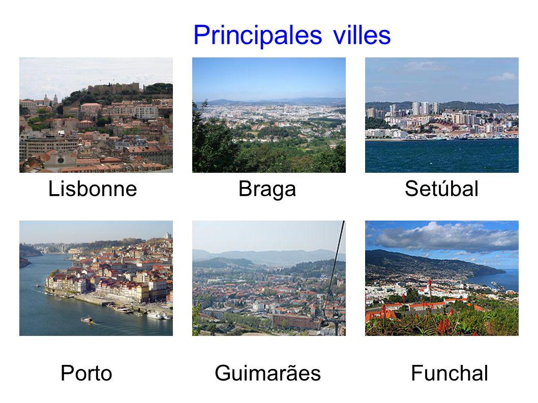 Principales villes Lisbonne Braga Setúbal.