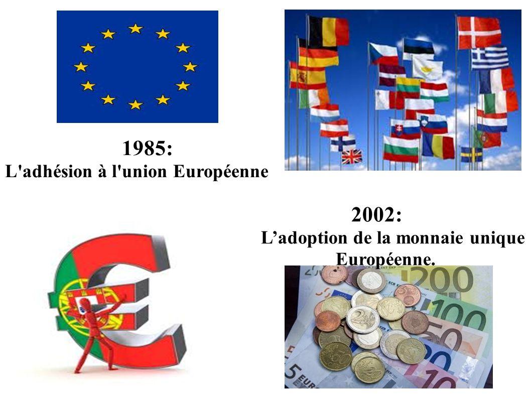 1985: L adhésion à l union Européenne 2002: L'adoption de la monnaie unique Européenne.