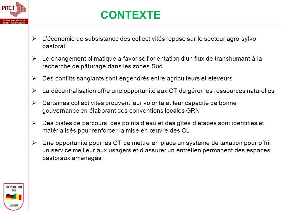 CONTEXTE L'économie de subsistance des collectivités repose sur le secteur agro-sylvo- pastoral.