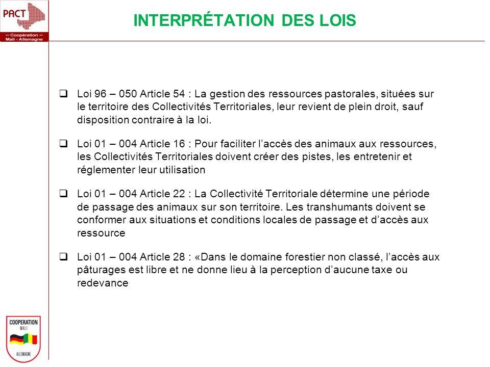 INTERPRÉTATION DES LOIS