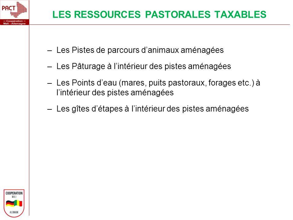 LES RESSOURCES PASTORALES TAXABLES