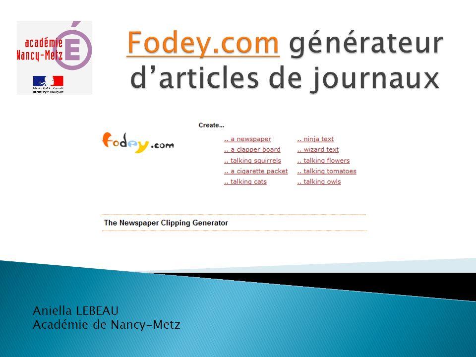 Fodey.com générateur d'articles de journaux