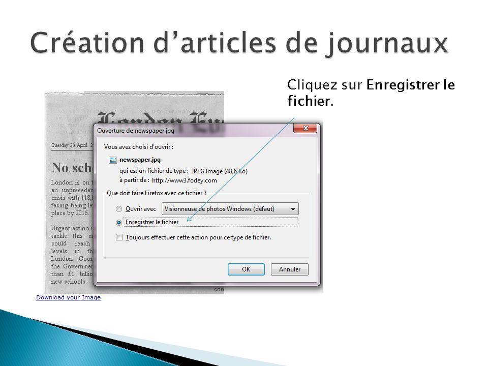 Création d'articles de journaux