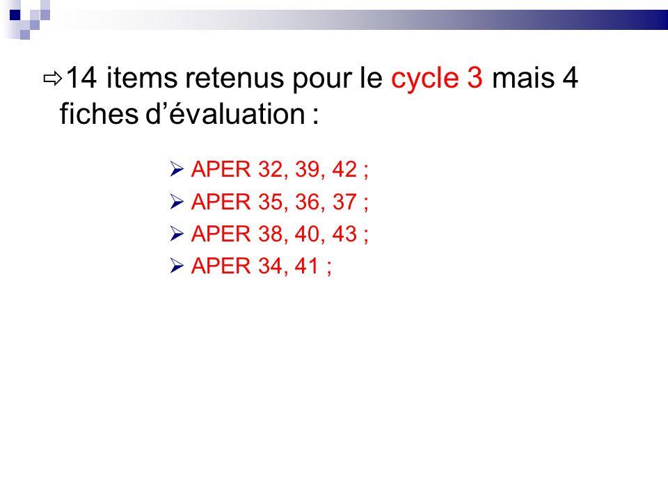 14 items retenus pour le cycle 3 mais 4 fiches d'évaluation :