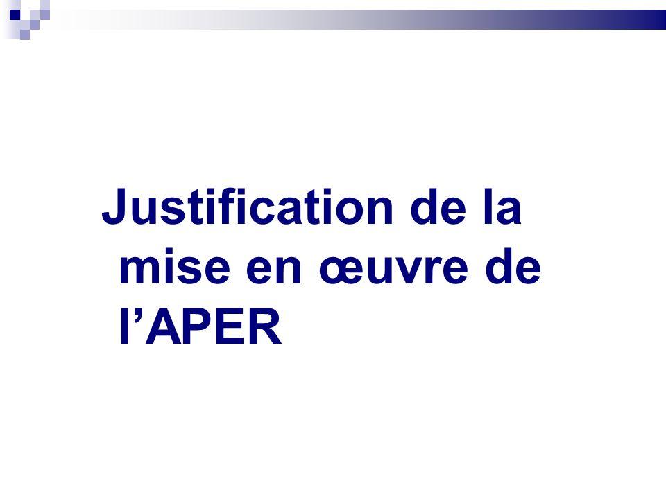 Justification de la mise en œuvre de l'APER