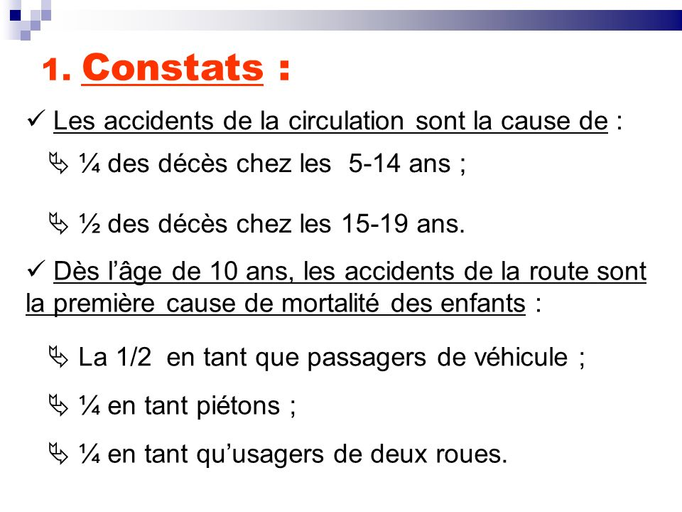 1. Constats : Les accidents de la circulation sont la cause de :