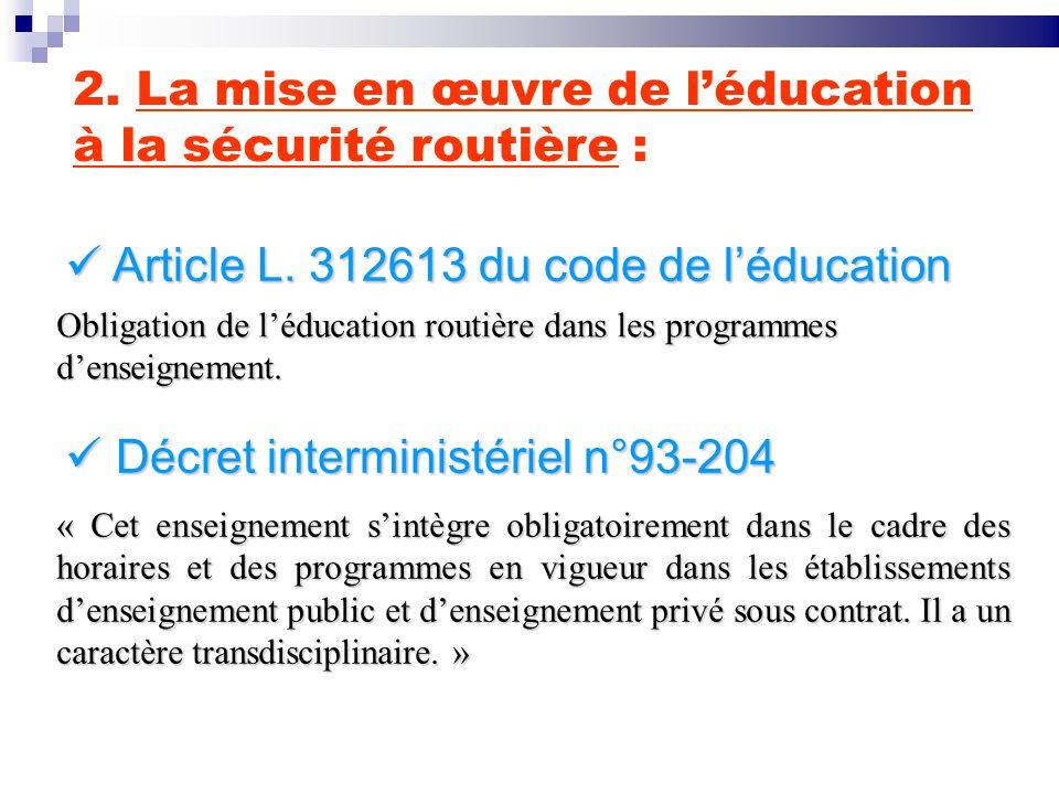 2. La mise en œuvre de l'éducation à la sécurité routière :