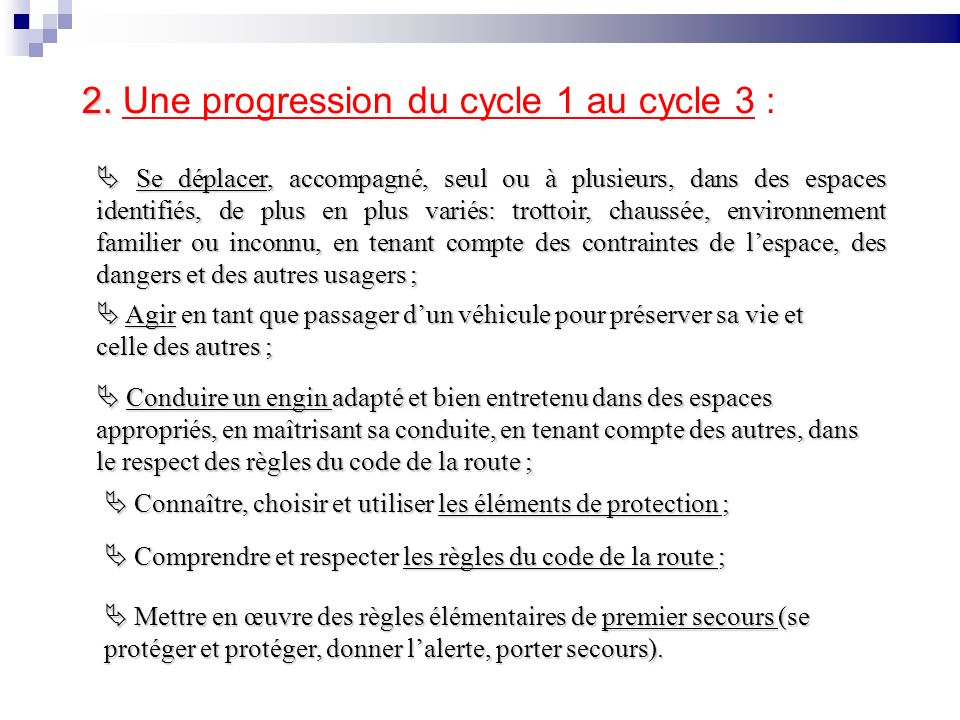 2. Une progression du cycle 1 au cycle 3 :