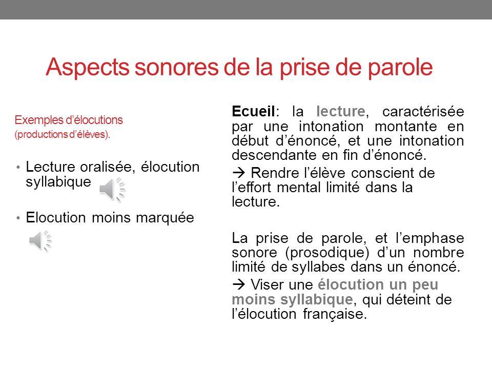 Exemples d'élocutions (productions d'élèves).