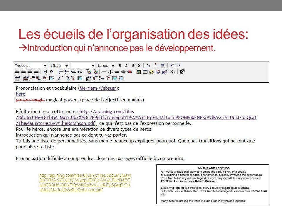 Les écueils de l'organisation des idées: Introduction qui n'annonce pas le développement.