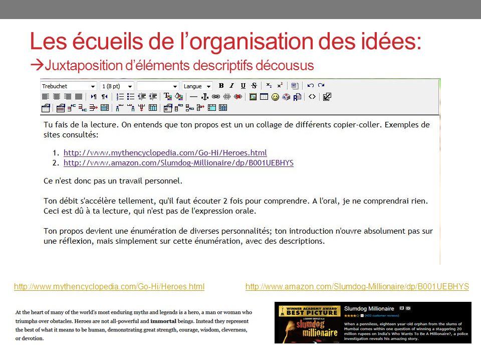 Les écueils de l'organisation des idées: Juxtaposition d'éléments descriptifs décousus