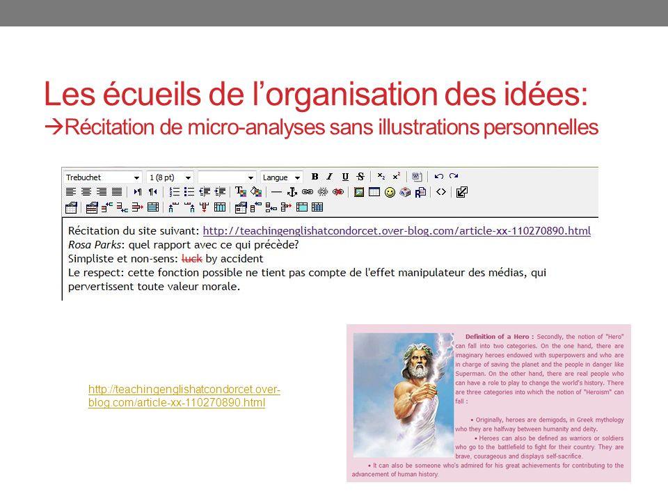 Les écueils de l'organisation des idées: Récitation de micro-analyses sans illustrations personnelles