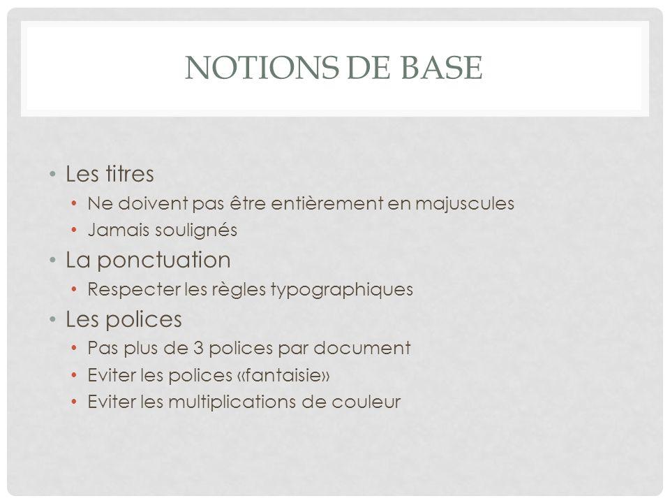 Notions de base Les titres La ponctuation Les polices