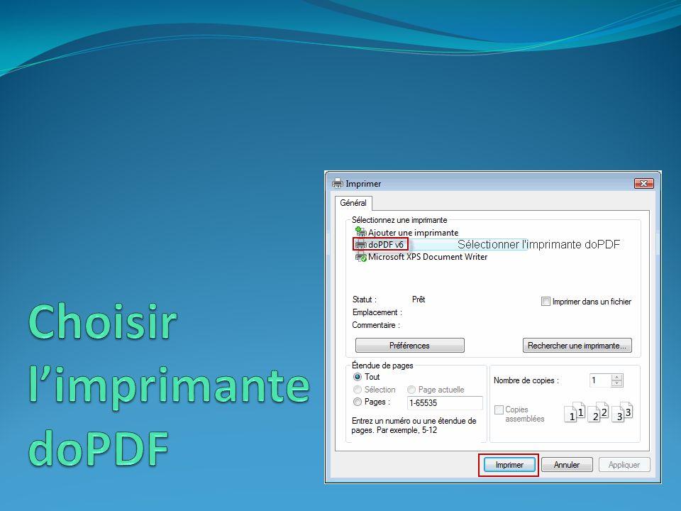Choisir l'imprimante doPDF