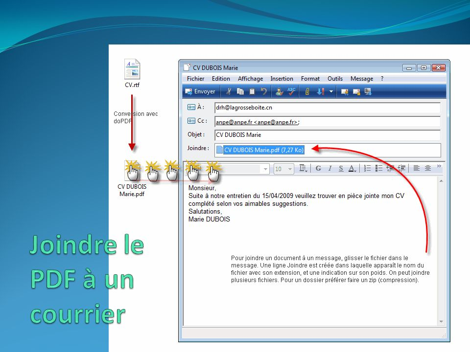 Joindre le PDF à un courrier