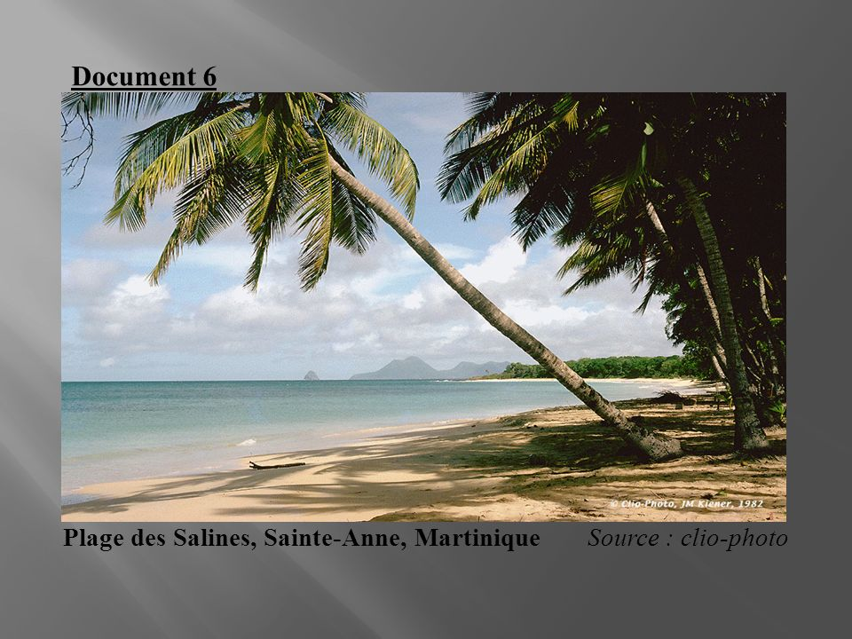 Document 6 Plage des Salines, Sainte-Anne, Martinique Source : clio-photo