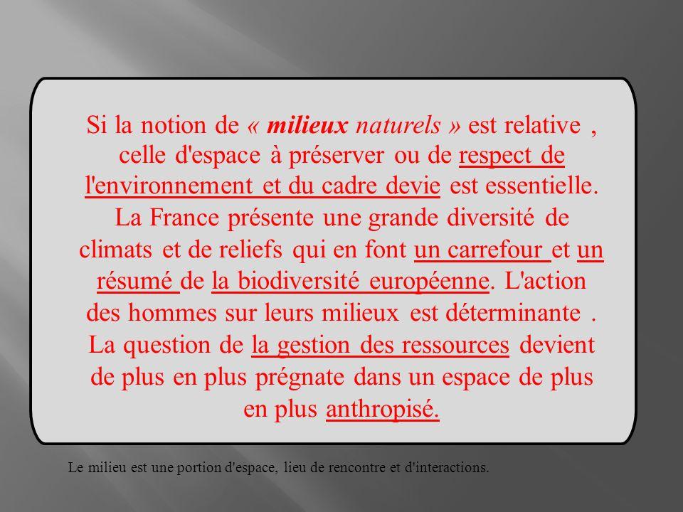 Si la notion de « milieux naturels » est relative , celle d espace à préserver ou de respect de l environnement et du cadre devie est essentielle.