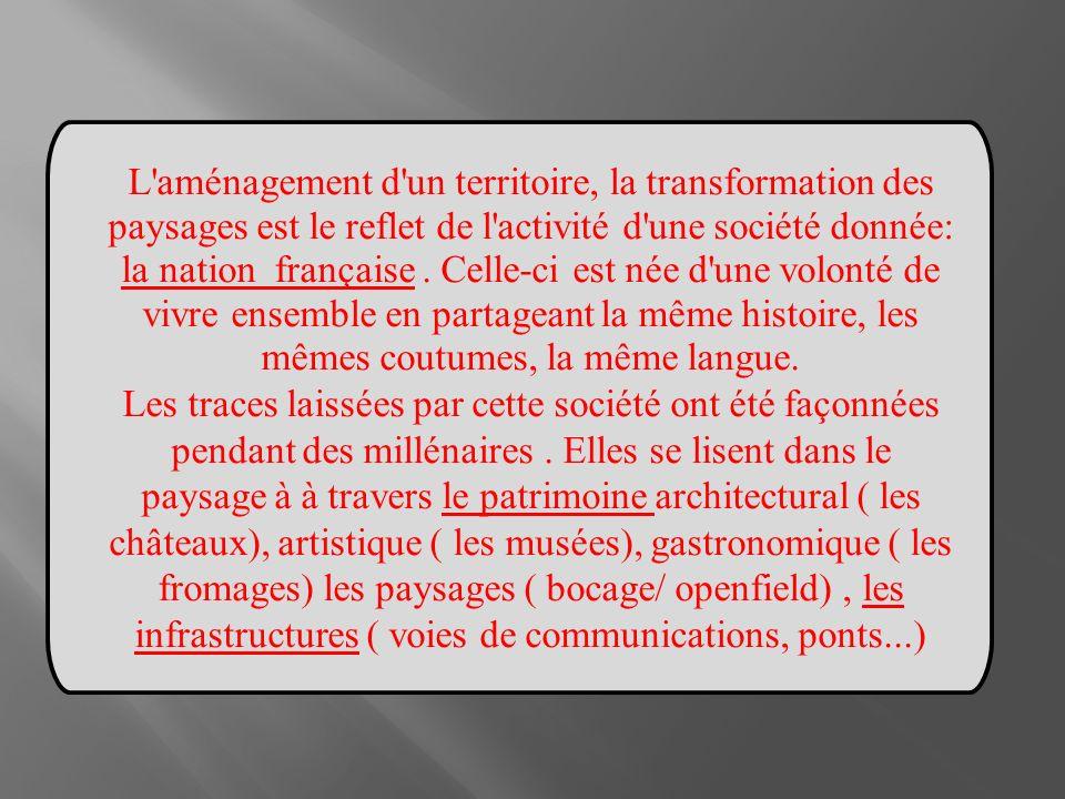 L aménagement d un territoire, la transformation des paysages est le reflet de l activité d une société donnée: la nation française . Celle-ci est née d une volonté de vivre ensemble en partageant la même histoire, les mêmes coutumes, la même langue.