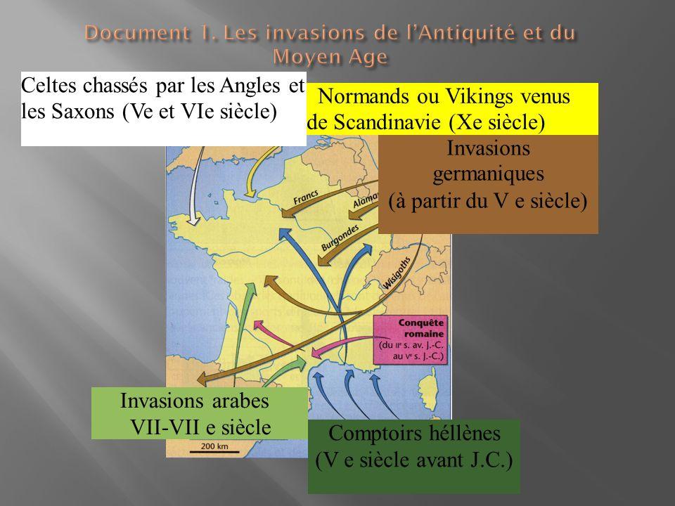 Document 1. Les invasions de l'Antiquité et du Moyen Age