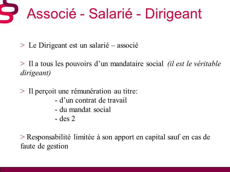 Associé - Salarié - Dirigeant