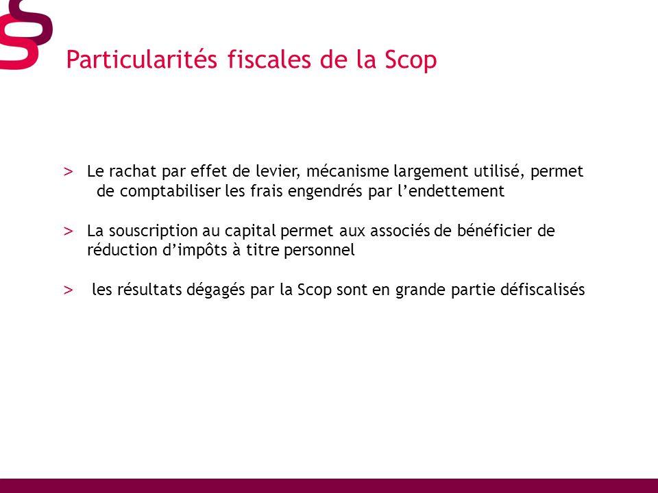 Particularités fiscales de la Scop