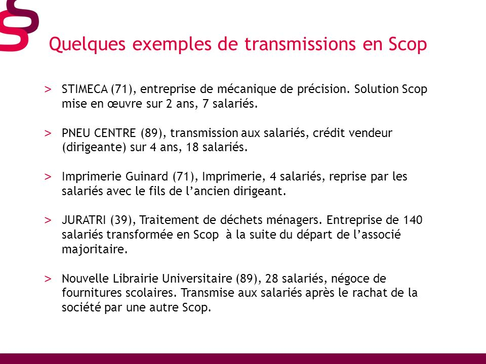 Quelques exemples de transmissions en Scop