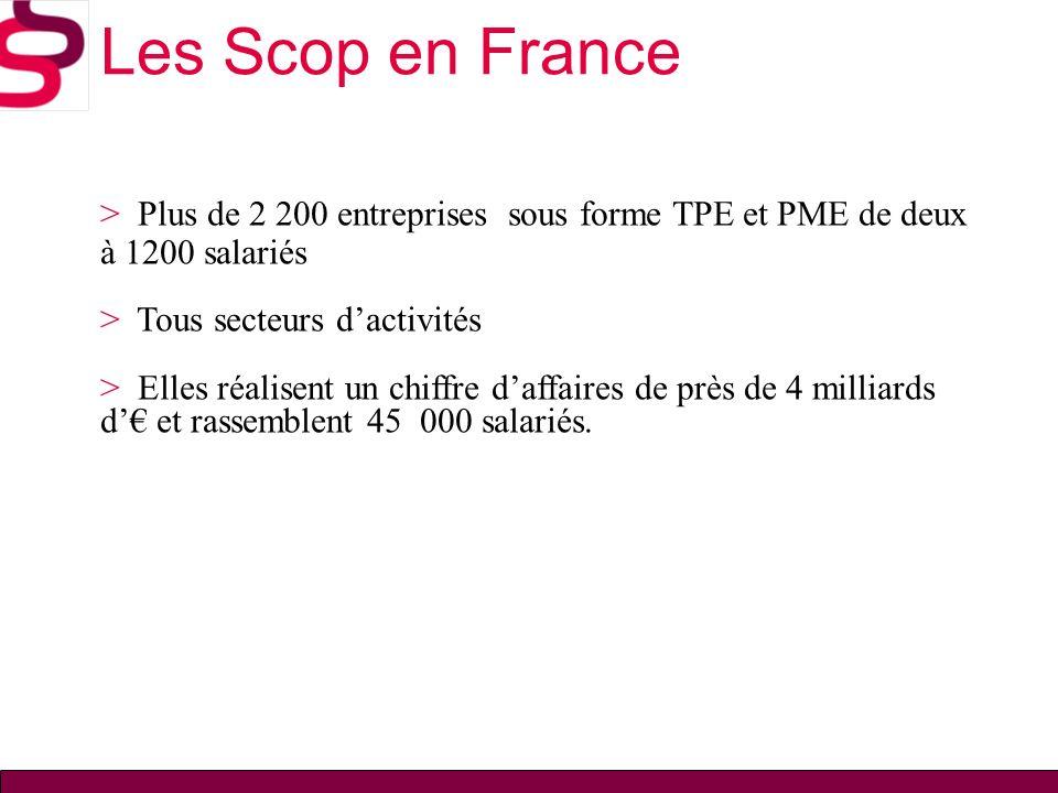 Les Scop en France > Plus de 2 200 entreprises sous forme TPE et PME de deux à 1200 salariés. > Tous secteurs d'activités.