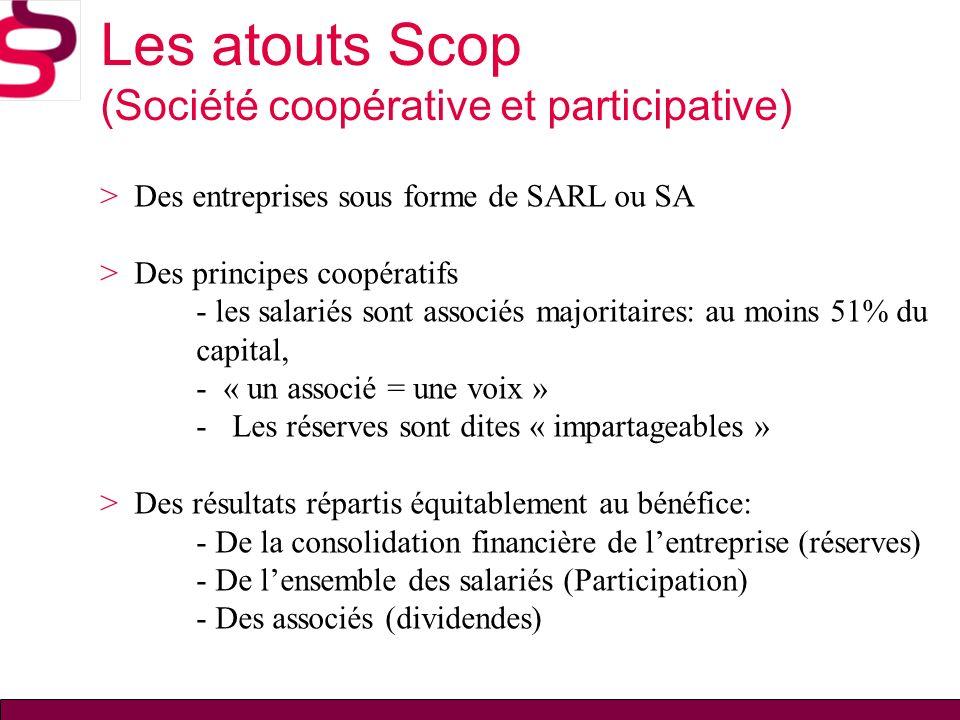 Les atouts Scop (Société coopérative et participative)
