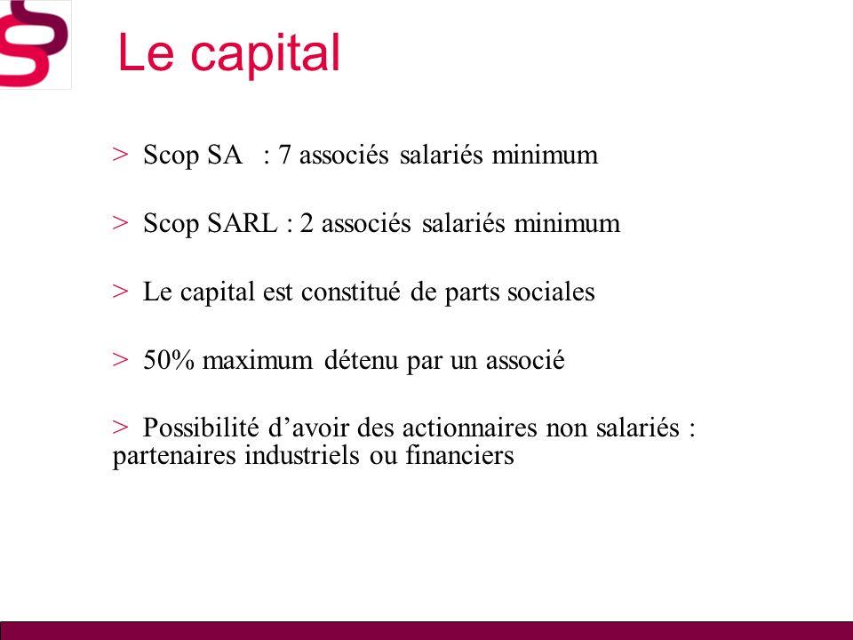 Le capital > Scop SA : 7 associés salariés minimum