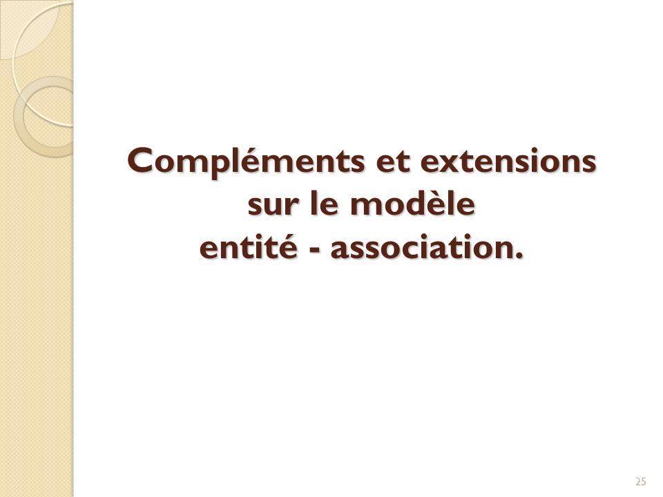 Compléments et extensions sur le modèle entité - association.