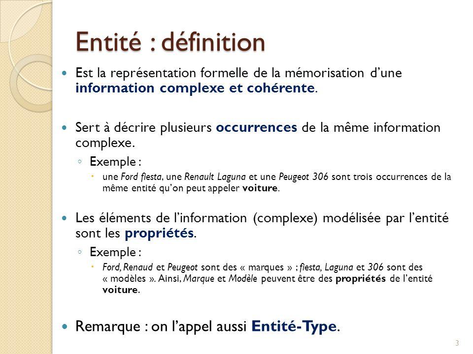 Entité : définition Remarque : on l'appel aussi Entité-Type.