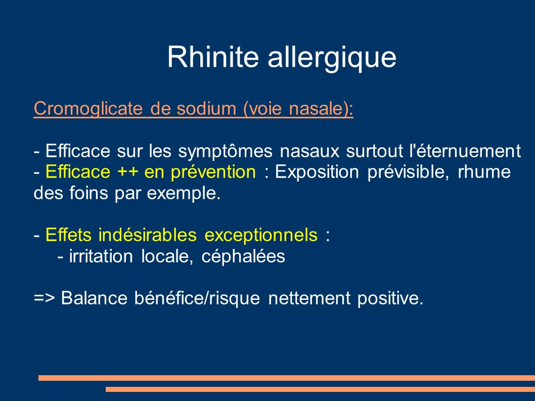 Rhinite allergique Cromoglicate de sodium (voie nasale):