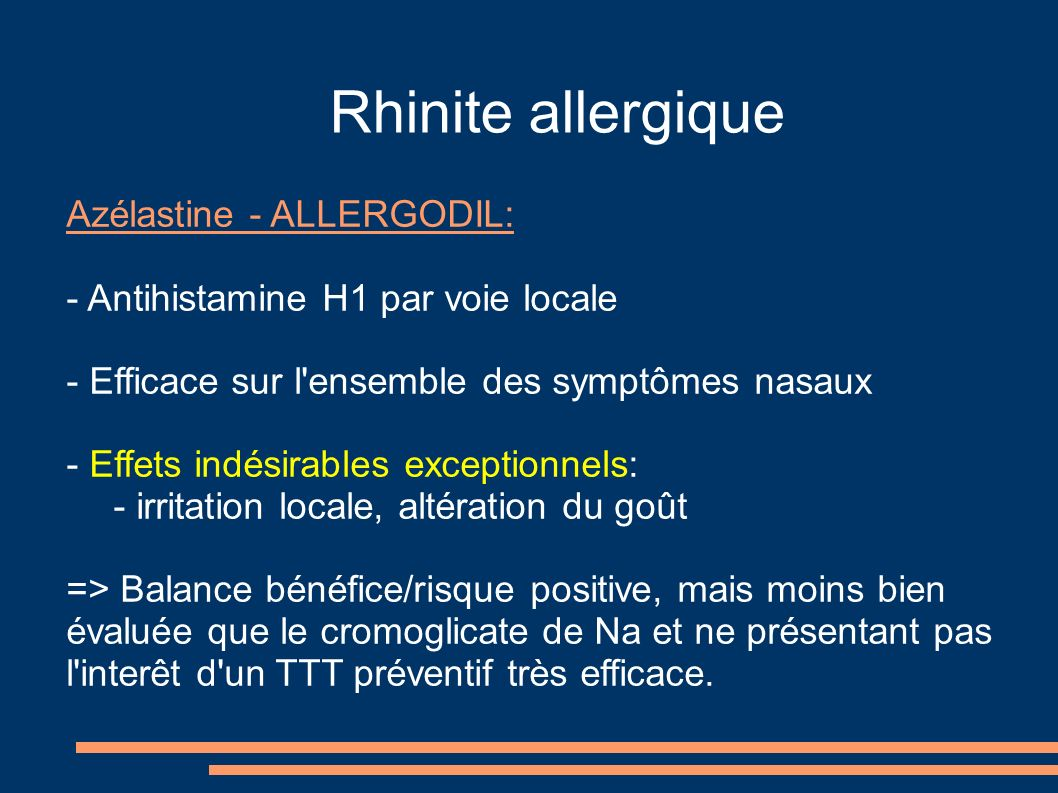 Rhinite allergique Azélastine - ALLERGODIL: