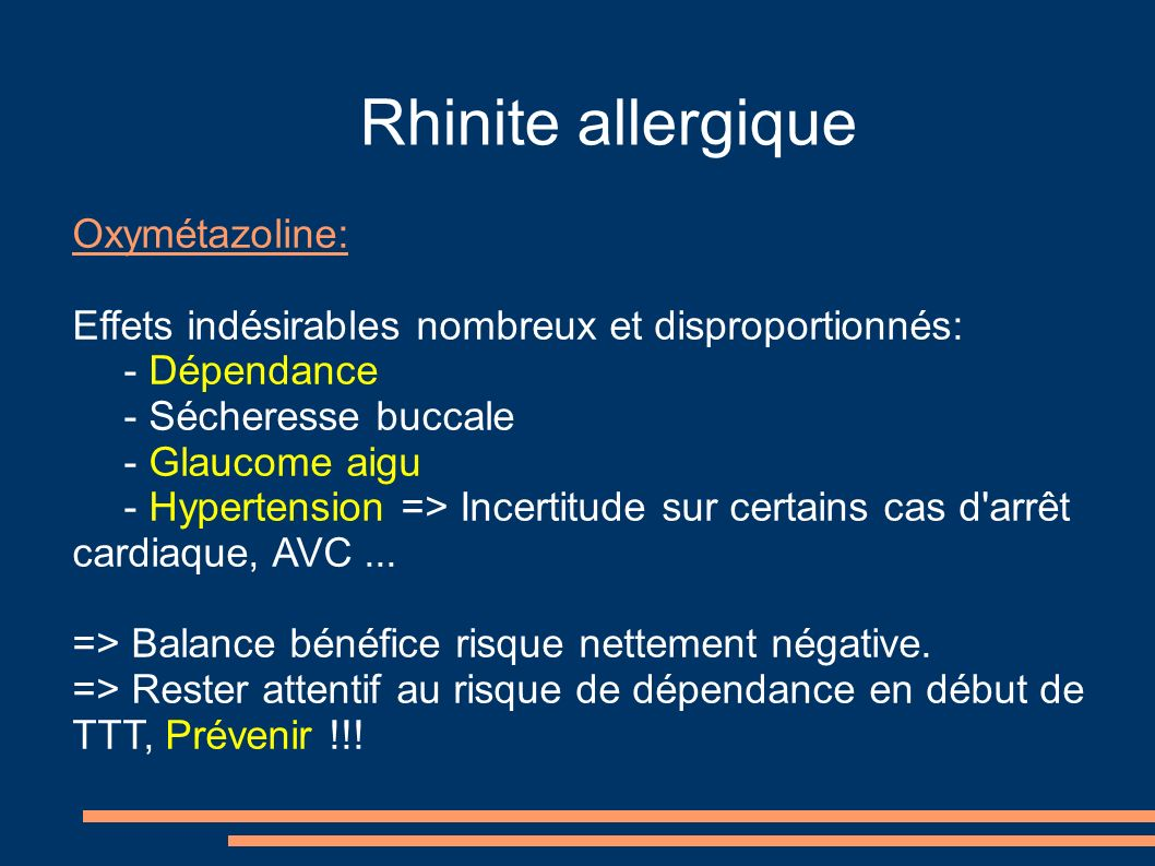 Rhinite allergique Oxymétazoline: