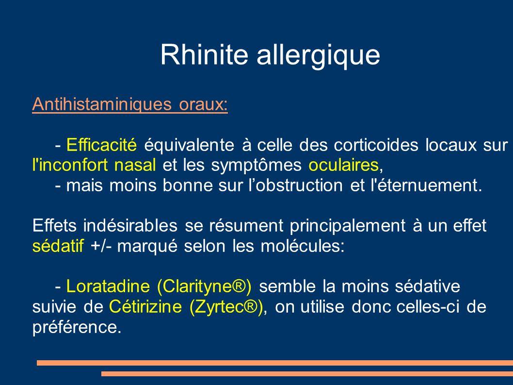 Rhinite allergique Antihistaminiques oraux: