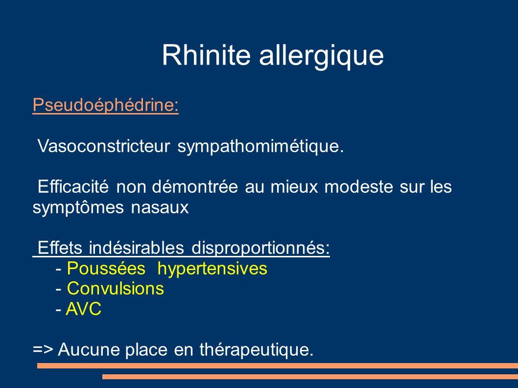 Rhinite allergique Pseudoéphédrine: