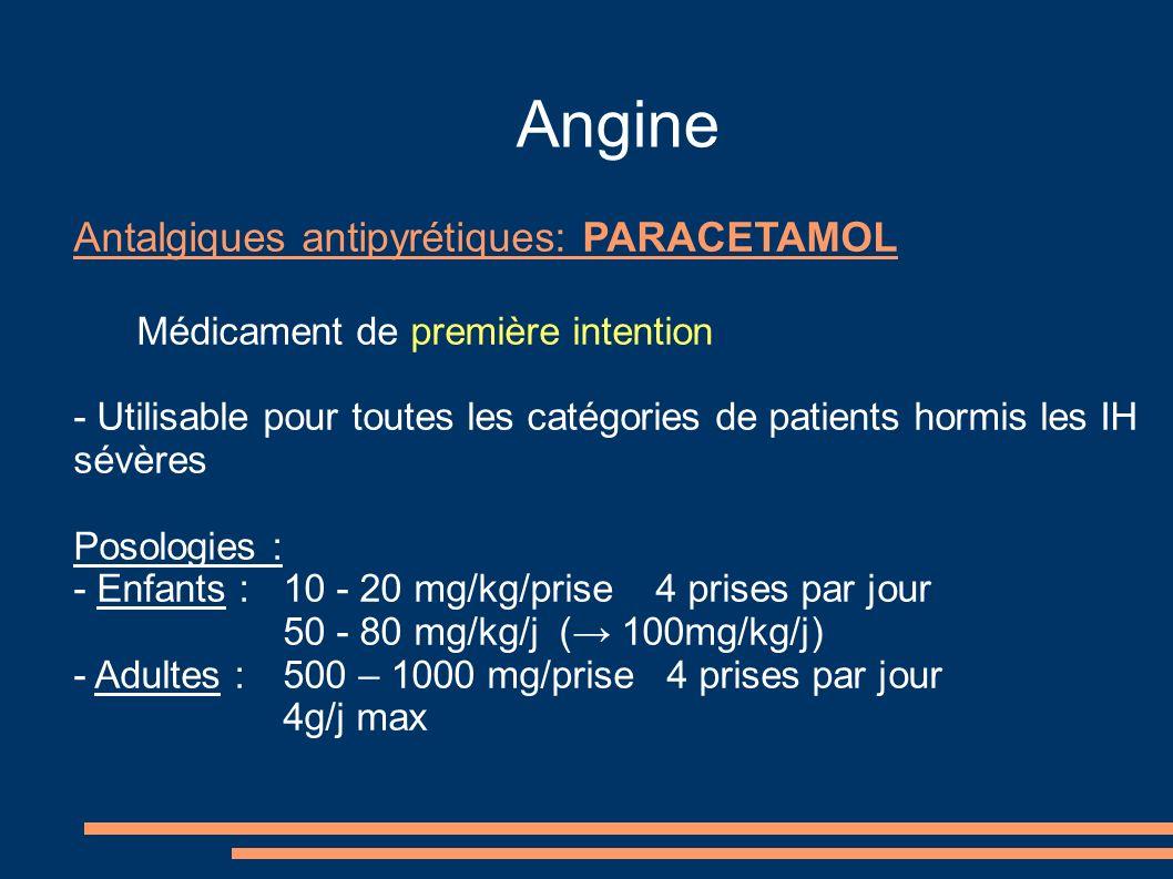 Angine Antalgiques antipyrétiques: PARACETAMOL