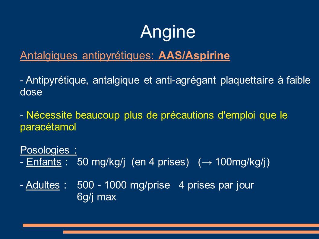 Angine Antalgiques antipyrétiques: AAS/Aspirine