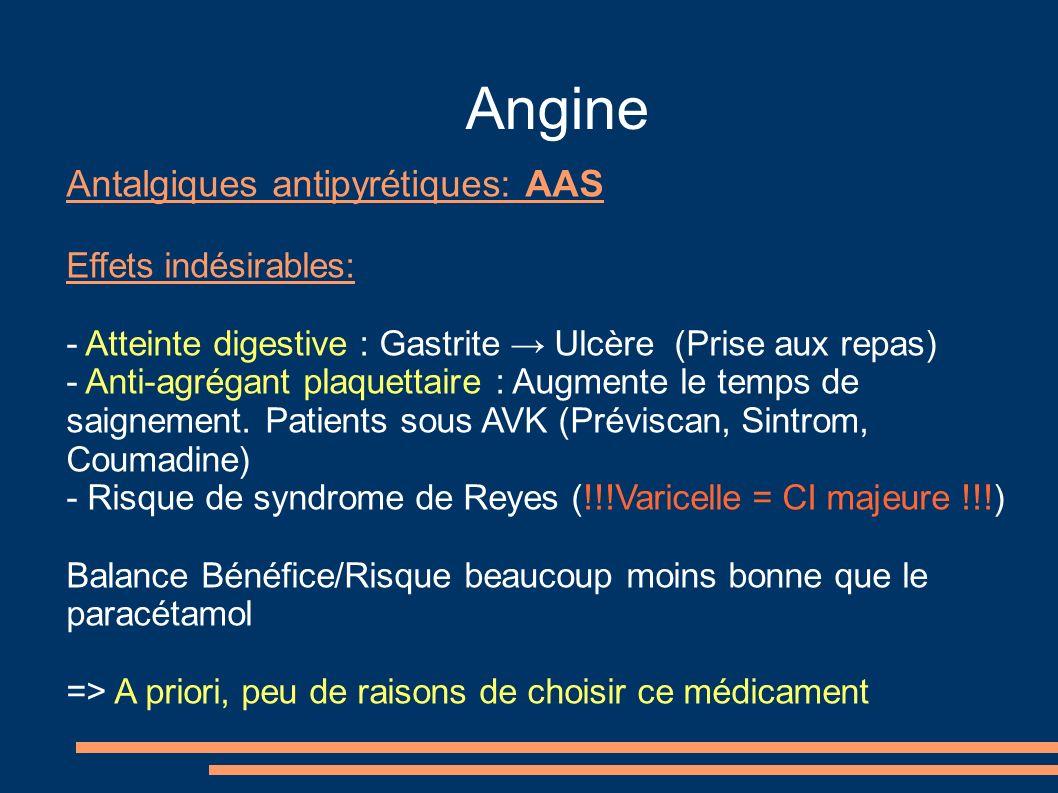Angine Antalgiques antipyrétiques: AAS Effets indésirables: