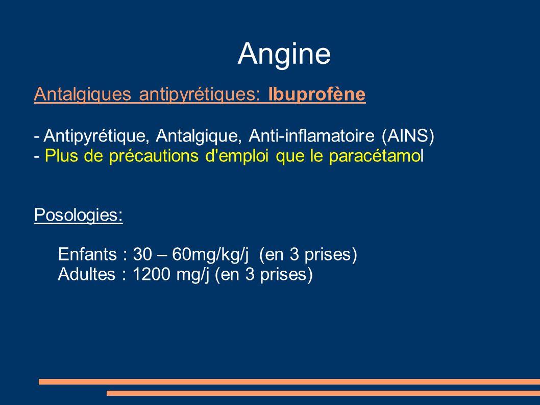 Angine Antalgiques antipyrétiques: Ibuprofène