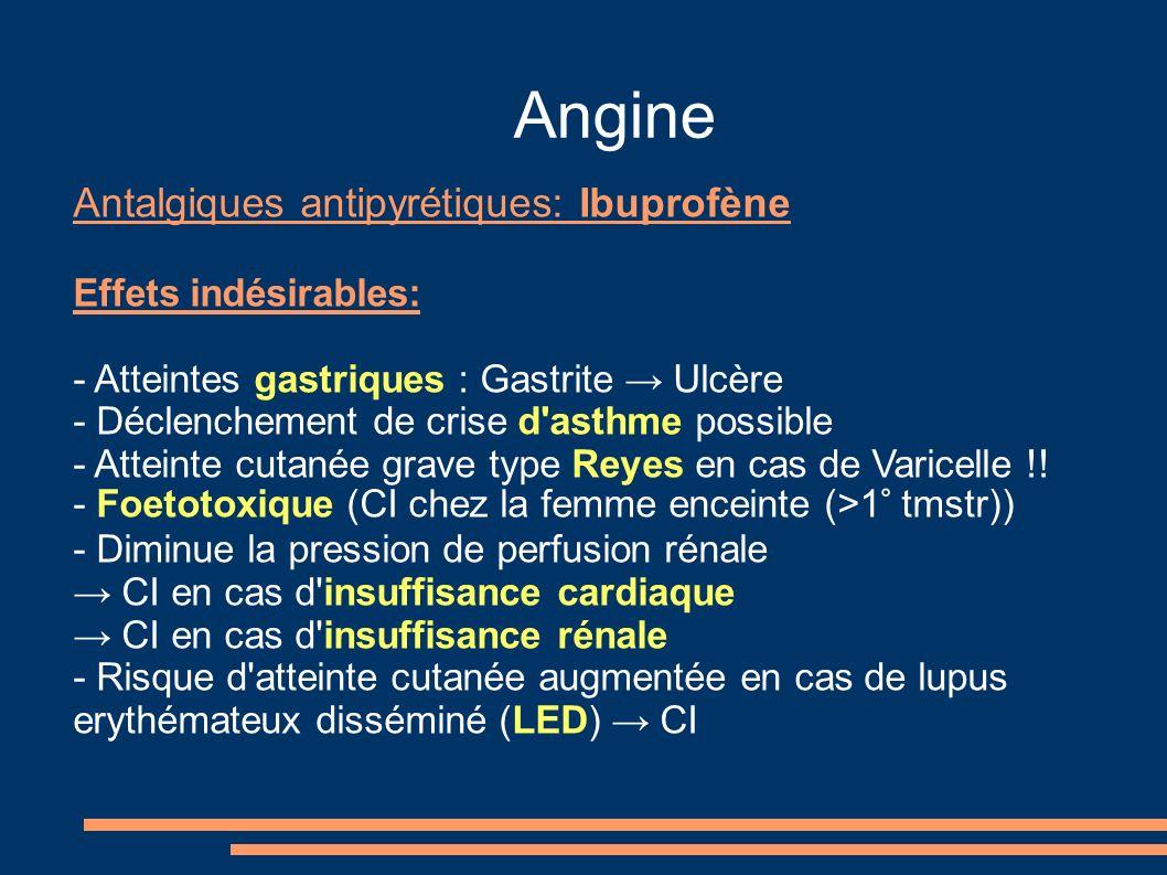 Angine Antalgiques antipyrétiques: Ibuprofène Effets indésirables: