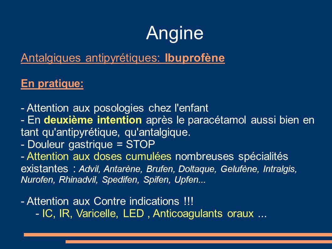 Angine Antalgiques antipyrétiques: Ibuprofène En pratique: