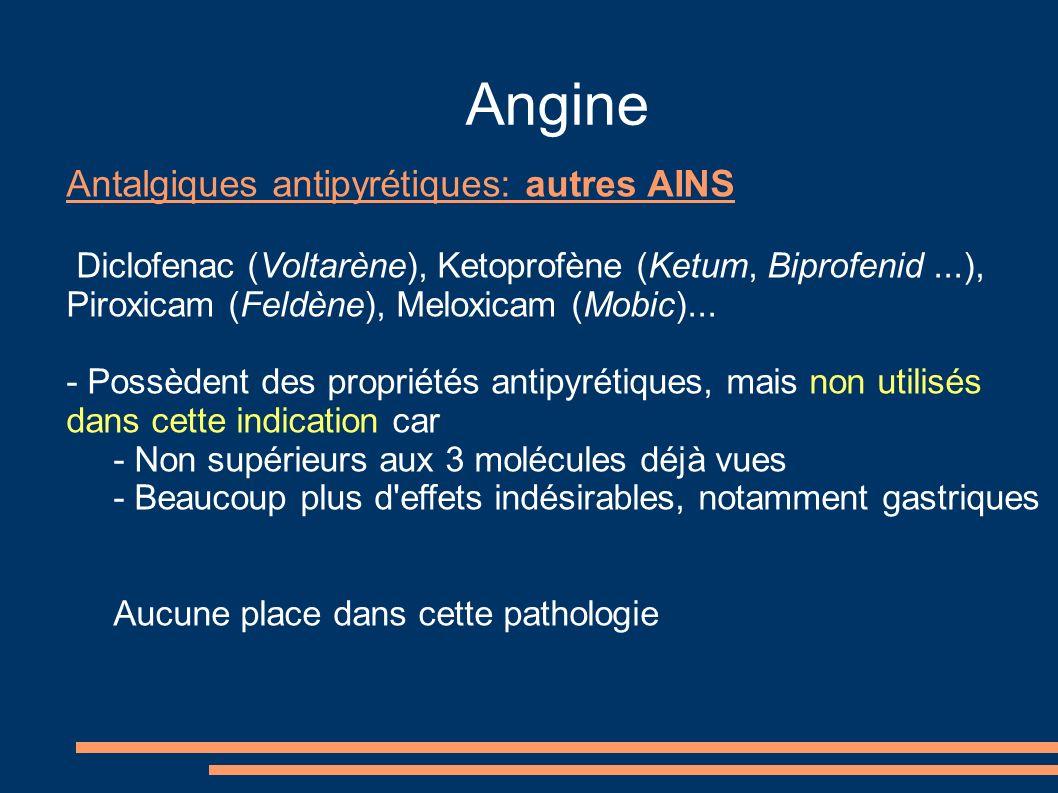 Angine Antalgiques antipyrétiques: autres AINS