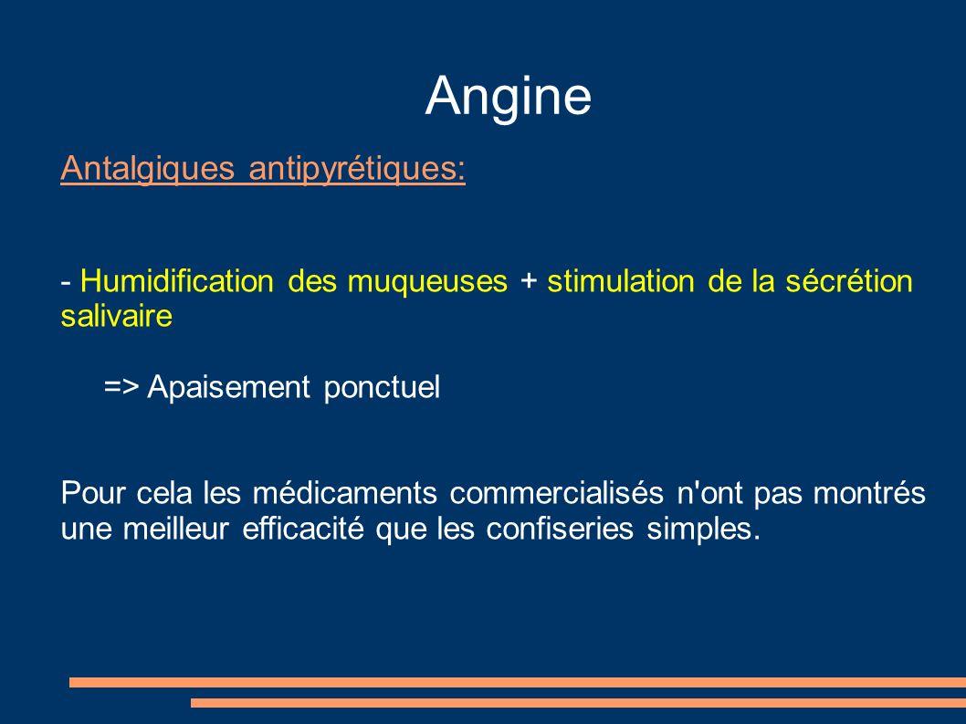 Angine Antalgiques antipyrétiques: