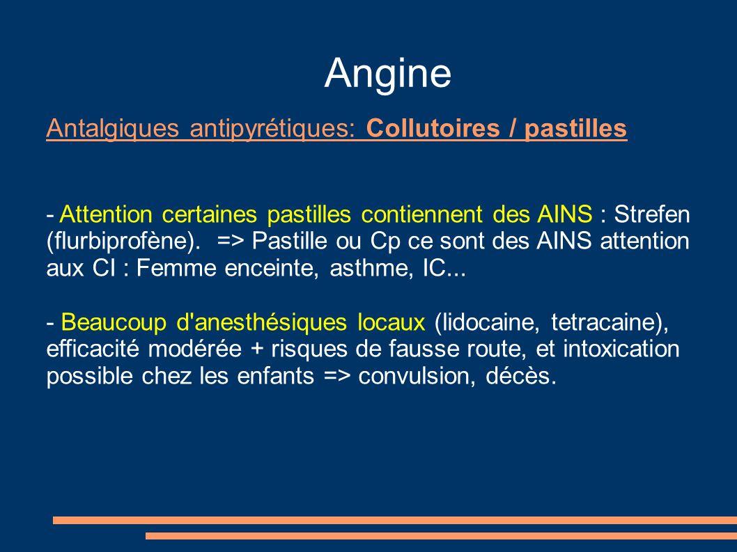 Angine Antalgiques antipyrétiques: Collutoires / pastilles